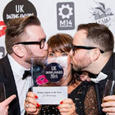 Jo Hemmings receiving Uk Dating Award